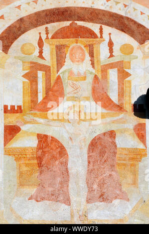 Sant Antonio Abate church, La chiesa di Sant'Antonio Abate, Pelugo, Autonomous Province of Trento, Italy, Europe - Stock Photo