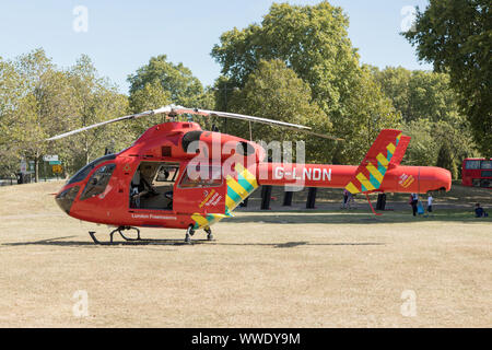 London, UK. 15th Sept, 2019. London Air Ambulance at Wellington Arch. - Stock Photo