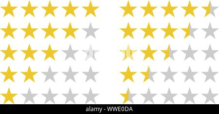 Star rating symbols with 5 star. Quality, feedback, experience, level concepts.. Isolated badge for website or app