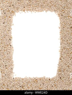 Whole, organic white chia seeds texture frame background top view from above with copy space - Stock Photo