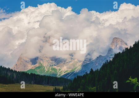 Mezzano Imerm, Pale di San Martino village with Dolomite peaks in Val di Primiero Noana of Trentino Alto-Adige near the lake Calaita Italy. - Stock Photo