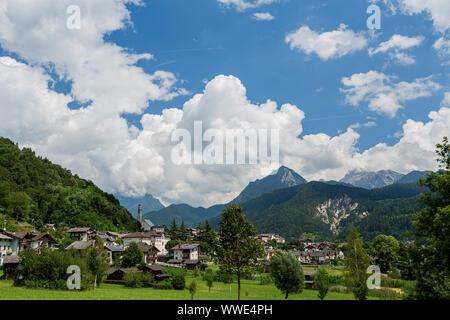 Mezzano Imerm, Pale di San Martino village with Dolomite peaks in Val di Primiero Noana of Trentino Alto-Adige, Italy in sunrise - Stock Photo
