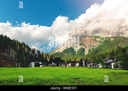 Mezzano Imerm, Pale di San Martino village with Dolomite peaks in Val di Primiero Noana of Trentino Alto-Adige . - Stock Photo
