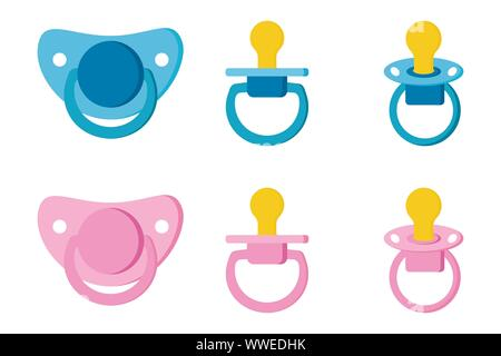 Set icons of pacifier baby dummy care nipple for newborn child. - Stock Photo
