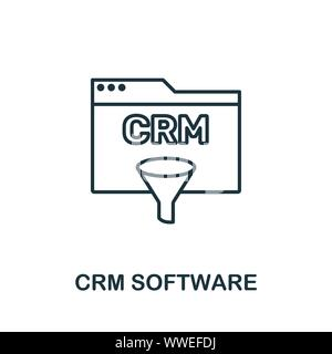 Crm Software outline icon. Thin line concept element from crm icons collection. Creative Crm Software icon for mobile apps and web usage - Stock Photo