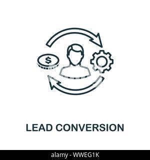 Lead Conversion outline icon. Thin line concept element from crm icons collection. Creative Lead Conversion icon for mobile apps and web usage - Stock Photo