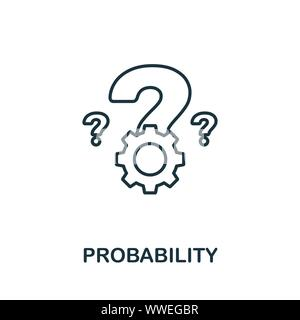 Probability outline icon. Thin line concept element from crm icons collection. Creative Probability icon for mobile apps and web usage - Stock Photo