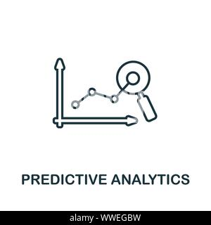 Predictive Analytics outline icon. Thin line concept element from crm icons collection. Creative Predictive Analytics icon for mobile apps and web - Stock Photo