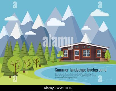 Summer or spring lake landscape scene with country rural farm house - Stock Photo