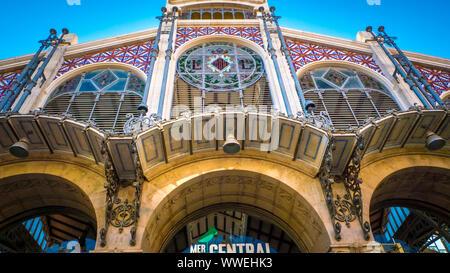 The Valencia's central market, which is a popular public market located in Market square next to the Llotja de la Seda in Valencia, Spain - Stock Photo