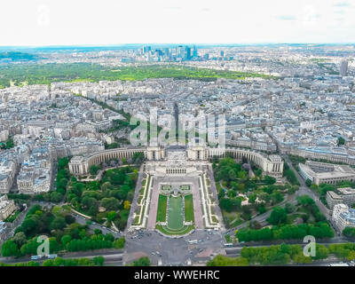 Panoramic aerial view of Paris, France with Trocadéro Gardens Palais de Chaillot and La Defense from Eiffel Tower on a sunny day. - Stock Photo