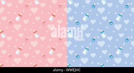 Set of cute vector seamless pattern with baby bottle, pacifier, heart. - Stock Photo
