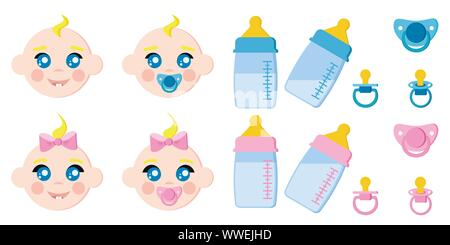 Vector set of children faces icons, baby bottles with milk, pacifiers, baby dummies, blonde boy and girl. - Stock Photo