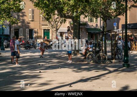 Boule player  in Saint Tropez, Cote d Azur, France - Stock Photo
