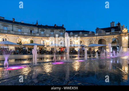 water fountains at Place de la Liberation in Dijon, Cote d Or, Burgundy, France - Stock Photo
