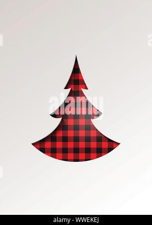 Paper cut style greeting card winter seasonal holidays - Christmas tree on tartan checkered plaid - vector illustration - Stock Photo