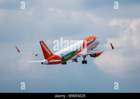 Zurich, Switzerland - July 19, 2018: EasyJet Airline Company airplane taking off. EasyJet Airline Company Limited is a British low-cost carrier airlin - Stock Photo