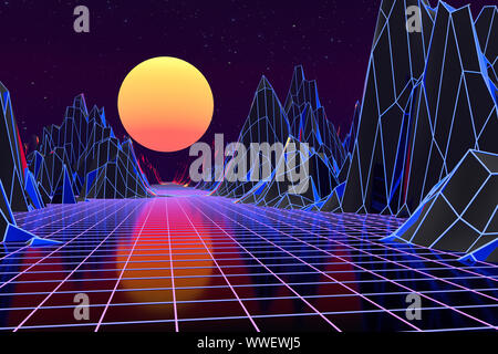 3d background Illustration Inspired by 80's Scene synthwave and retrowave. Computer digital drawing. - Stock Photo