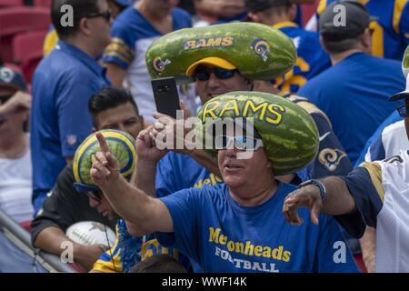 Los Angeles, United States. 15th Sep, 2019. Watermelon heads were in full display at the Los Angeles Memorial Coliseum in Los Angeles, California on Sunday, September 15, 2019. The Rams defeated the Saints 27 - 9 to open their home season. Photo by Michael Goulding/UPI Credit: UPI/Alamy Live News - Stock Photo