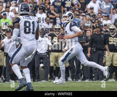 Los Angeles, United States. 15th Sep, 2019. Los Angeles Rams quarterback Jared Goff (16) looks for a receiver at the Los Angeles Memorial Coliseum in Los Angeles, California on Sunday, September 15, 2019. The Rams defeated the Saints 27 - 9 to open their home season. Photo by Michael Goulding/UPI Credit: UPI/Alamy Live News - Stock Photo