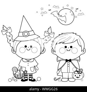 Children dressed in Halloween costumes hold buckets with candy. Black and white coloring page - Stock Photo