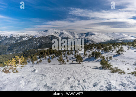 Penalara Natural Park winter scene. Located in the Sierra de Guadarrama,  mountainous axis called the Central System, in Madrid Community, Spain - Stock Photo