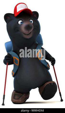 Fun 3D bear backpacker cartoon character - Stock Photo