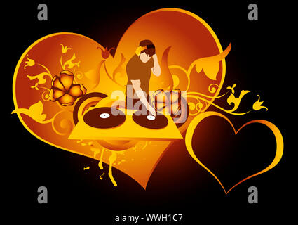 st.Valentines day concept for  discotheque,made from my photo - Stock Photo