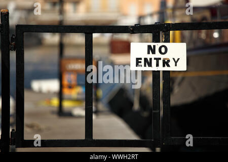 no entry sign on gate - Stock Photo