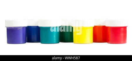 Closeup view colorful cans with gouache. Rainbow colors - Stock Photo