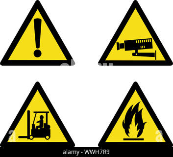 illustration of workplace signs showing warning, caution, security camera, forklift truck operation and flammable on isolated white background - Stock Photo