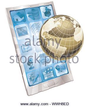 Mobile Phone Globe Concept - Stock Photo