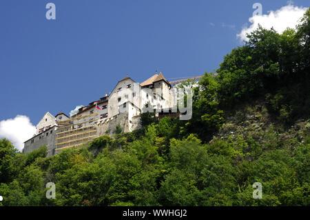 Vaduz with castle, Principality of Liechtenstein - Stock Photo