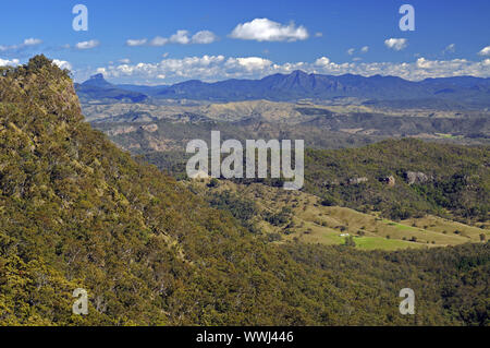 view over the mountains in lamington np, australia - Stock Photo