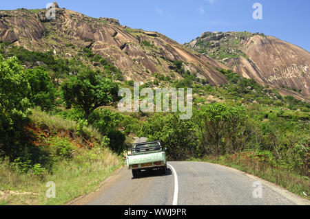 Sibebe granite rocks near Mbabane - Stock Photo