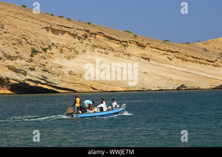 Boat trip in the Gulf of Oman near Maskat - Stock Photo