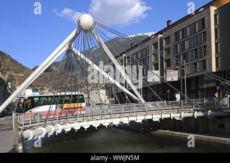Suspension bridge Pont de Paris, Andorra La Vella - Stock Photo