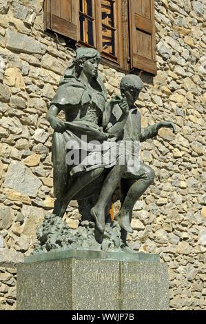 Sculpture Dancing couple, Barri Antic, Andorra - Stock Photo