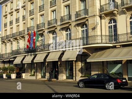 Four Seasons Hotel des Bergues, Geneva,Switzerland - Stock Photo