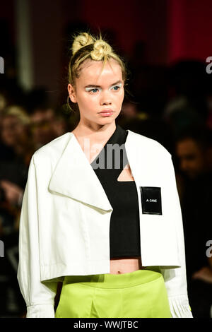 London, UK. 15th Sep, 2019. A-Jane is a Chinese Malaysian showcases its latest LFW SS 20 Collection at Fashion Scout SS20 on 15 September 2019, London, UK Credit: Picture Capital/Alamy Live News - Stock Photo