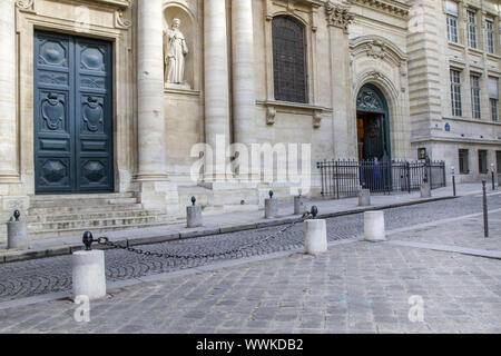 Entrance to the Sorbonne University in Paris, France - Stock Photo