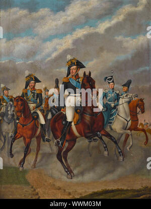 Tsar Nicholas I of Russia with Tsarevich Alexander and his Retinue. Private Collection. - Stock Photo
