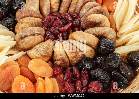 close up of various dried exotic fruits - Stock Photo