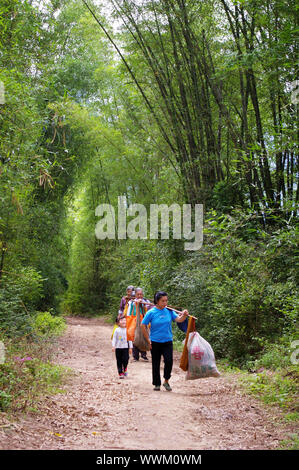 CHINA - MAY 17, They are many farmers finish harvesting from field in Yangshuo, China on 17 May, 2010. - Stock Photo