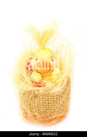 yellow easter decoration with small duck - Stock Photo