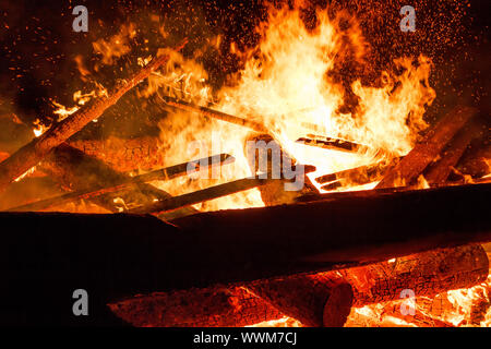 close up of big fire - Stock Photo
