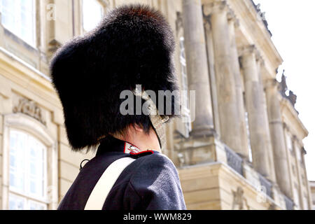 Changing of the guard in front of Amalienborg - Stock Photo