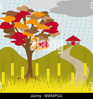 autumn tree and house on a hill with wheat and rain
