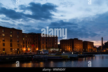 The Royal Albert Dock in Liverpool at night - Stock Photo