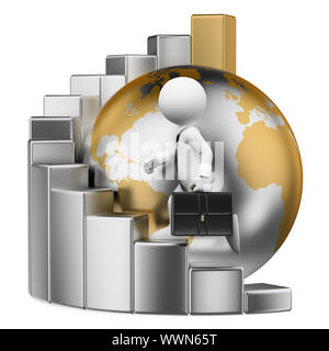 3d white people illustration. Businessman climbing to the top of the world on a bar graph. Metaphor. Isolated white background. - Stock Photo